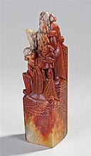 Chinese soapstone seal type figure, with three rob