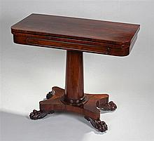 William IV rosewood card table. The shaped rectang