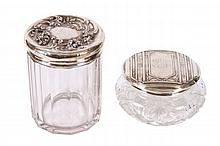 LOT OF TWO LARGE DRESSER JARS WITH STERLING TOPS