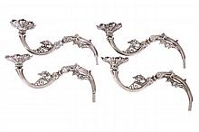 FOUR STERLING SILVER EPERGNE ARMS