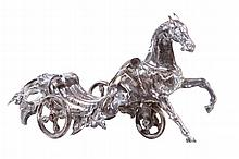 CONTINENTAL SILVER MODEL OF A FLOWER CHARIOT