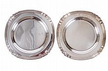 A PAIR OF CHRISTOFLE SILVER PLATED CIRCULAR TRAYS