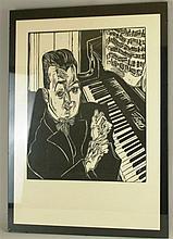 'Der Klavierspieler'' - Holzschnitt auf Arches-Papier, Frankreich, Blattgrö