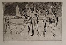 Mohring, Ottmar(*1935 Stuttgart) - ''Strand'', Radierung, in Blei signiert,