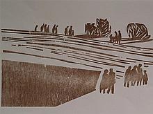 Bauschert, Heiner (1928-1986 Tübingen) - ''Menschen auf dem Weg'', Holzschn