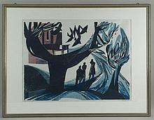 Bauschert, Heiner(Tübingen 1928-1986) - Baumbestandene Landschaft mit Figur