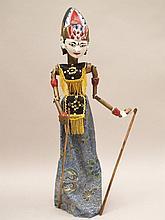 Wayang Golek-Puppe - Indonesien, Stabfigur, Kopf, Torso, Arme sind handgesc