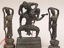 Konvolut Mythologische Figuren - 3 Stück, Kambodscha, Bronzelegierung, H. c