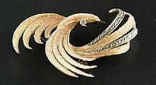 Silberbrosche - Paradiesvogel, Pforzheim, signiert, 800 gestempelt, vergold