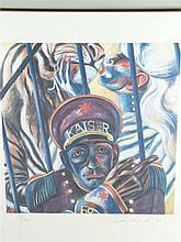 Lukaschewski, Rolf (1947)- Zirkusszene, Farblithographie, signiert, datiert