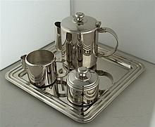 Kaffeekern - Art Déco, versilbert, 4-tlg. , Kanne, Zuckerdose, Milchkännche