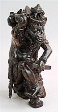 Elefantengottheit mit aufwändigem Kopfschmuck und Buch - Holz geschnitzt, g