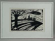 Mohring, Ottmar(*1935 Stuttgart) - ''Fränkische Landschaft'', Holzschnitt,