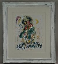 Chagall, Marc (1887 Witebsk - 1985 Saint, nach)- ''Der Clown'', Farboffset,