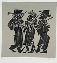 Willand, Detlef (*1935 Heldenheim) - ''99'', Farbholzschnitt in Schwarz auf