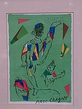 Chagall, Marc (1887 Witebsk - 1985 Saint, nach)- ''L'acrobate vert'', Farbl