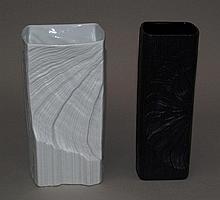 2 Vase Rosenthal 20 century, Studio Line, porcelain Noir et Blanche, square with relief
