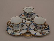 2 Mocca Cups- 20 century., Capodimonte with tablet and sugar bowl (cover is missing),