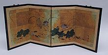 Small Screen - Japan / China, four-fold screen decorated with lotus flowers, painting on