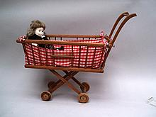 Doll carriage and doll, wooden, with cushions, around 1950 63x78x31cm