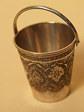 Silver bucket - probably Persia, finely engraved and chased, central bow handle, Hallmark,