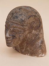 head made of stone -egypt,older, painted H. 10 cm