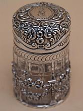 Glass bottle with silver mounting - pierced England, colorless glass with cut decoration,
