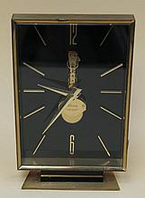Small Table Clock - Kaiser, rectangular frontal glassed enclosure on stand, truss, 8- day