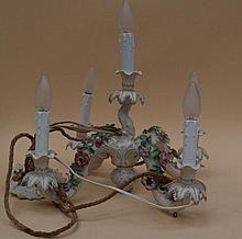 Ceiling Chandelier Potschappel, 20 Century., 5-flame with 4 arms and elaborate floral