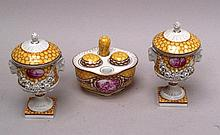 Couple lidded vases & Tintenzeug - Saxon Porcelain Factory to Potschappel of Carl Thieme,