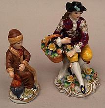 2 figures-Potschappel, ''Rococo-Flower seller'', polychrome painted, H. c.12 cm,slightly