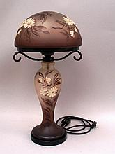Art Nouveau lamp- baluster stem with glass screen with mushroom-shaped glass shade, brown