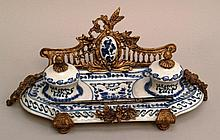 Desk set- with Metallmontur- 19/20 century., Austria, faience with 2 inkwells and pens,