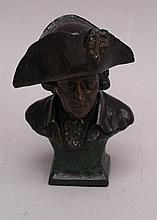 Bust of Frederick the Great-cast metal, brown patina, stereotypical portrayal of ''old