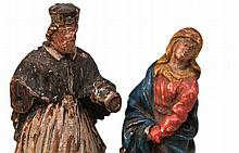 2 smal holy figures - 18th / 19th century, carved wood, 1x flattened rear, painted in