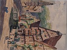 Bronner, M.- marketplace in Miltenberg, watercolor, li. Signed lower cop, framed under