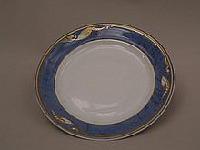 Plate - 20th century, Royal Copenhagen, edge painted blue with gold decoration and floral