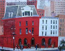 Richard E Howard (American, 1912?1996), Midtown Manhattan, Oil on board
