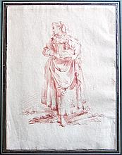 18th Century French School Sanguine Drawing of a Woman, Manner of Francois Boucher