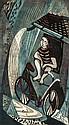 Lill Tschudi (1911-2001) Rain (Not in C) linocut