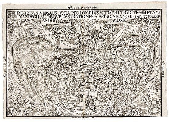 WORLD MAP - APIANUS, Peter (1495 - 1552). Tipus
