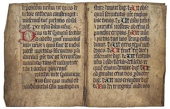 Missal, bifolium, decorated manuscript in Latin,