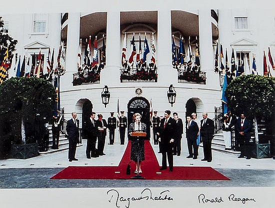 Reagan (Ronald W.) and Margaret Thatcher. signed