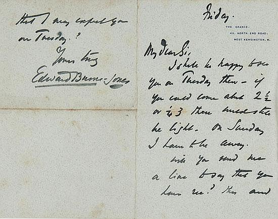 Burne-Jones (Sir Edward) Three autograph letters