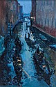 Sandra Pepys gondolas at night fall oil on board.
