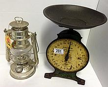 Vintage salter kitchen scales & an Oil lamp