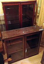 2 Wooden and glass display cabinets one with inner lights.