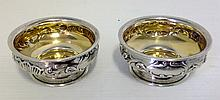 A pair of Gorham & Co Sterling Silver Salt cellors.