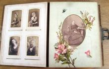 Victorian photograph album and contents
