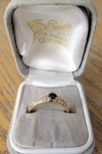 A 9ct gold sapphire and diamond ring